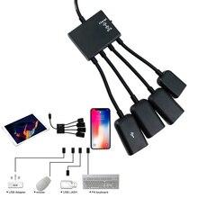 HUB Cable Mini USB 4 en 1 Adaptador OTG Cable divisor de conector para Samsung Xiaomi Huawei teléfono inteligente para ThinkPad teclado de ratón