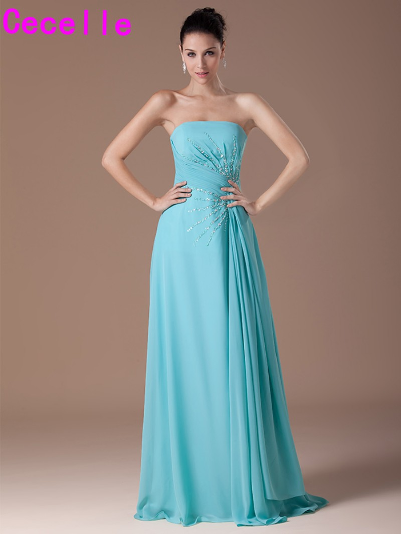 Online buy wholesale long turquoise bridesmaid dresses from china turquoise chiffon long bridesmaid dresses strapless pleats chiffon beaded a line formal elegant wedding party ombrellifo Image collections