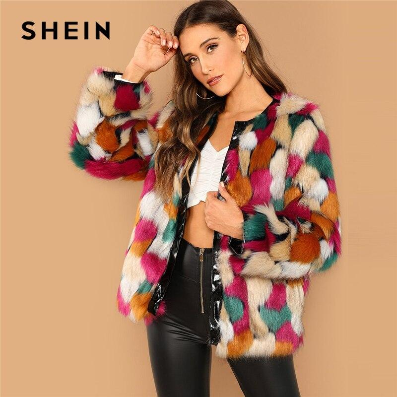 Шеин многоцветный Highstreet Colorblock открытой передней искусственного меха на шее Короткое пальто 2018 зима уличная Для женщин пальто верхняя одежд...