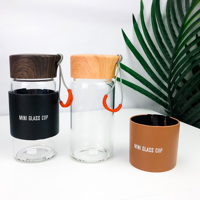 Mini Glass Water Bottles With Hot Drink Sleeve 3