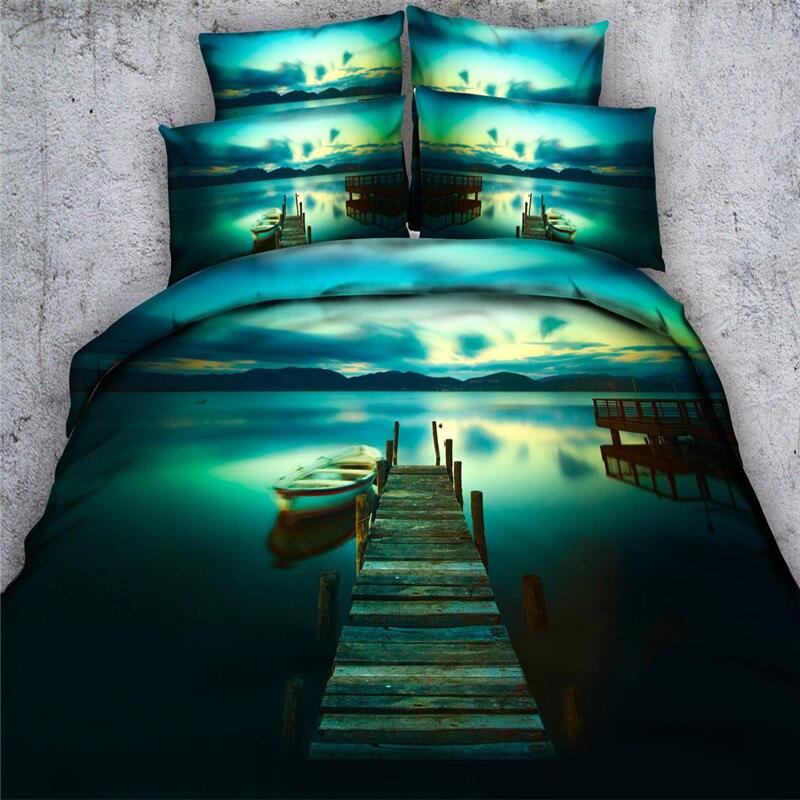 Livraison gratuite 4 pièces 100% coton bateau dock lac 3d ensemble de literie pas de consolateur double/pleine/reine/roi/super king size textile à la maison