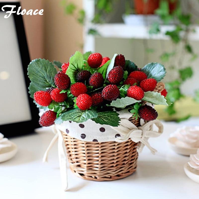 Floace Клубника фрукты выросли цветы украшения цветы искусственные цветы набор