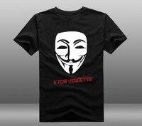 Film V Wie Vendetta Guy Fawkes Maske T-shirts Druckmuster Mens Casual Baumwolle Kurzarm Tops T shirts 2 Stile