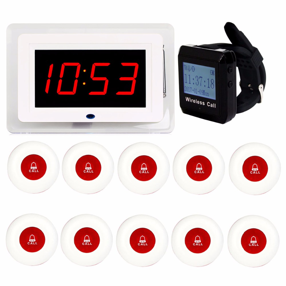 433MHz Restaurant Pager Wireless Calling System Voice Broadcast Receiver Host + 1 Watch Receiver + 10 Call Transmitter Button