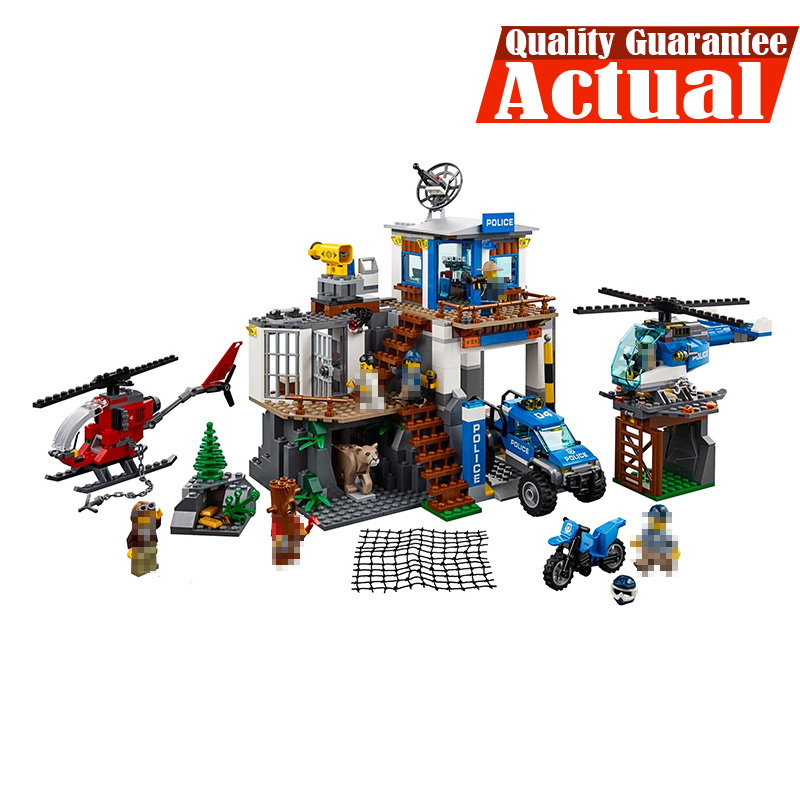 LEPIN 02097 Mountain Police Headquarters City Figures Building Blocks Bricks Toys For Children 742PCS CompatibleINGly 60174 lepin 40011 882pcs city series police department model building blocks bricks toys for children gift action figures