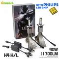 2X Plug & Play 90 W 11700LM H4 com Genuine Philips LEVOU Chip H4 Carro LEVOU Farol Farol Conversão do Conjunto de Kit DRL Luz de Nevoeiro 6000 K