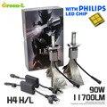 2X Plug & Play 90 W H4 11700LM con Genuino Philips Viruta DEL LED Kit de Conversión de H4 Del Coche LED de la Linterna Del Faro Set DRL Luz de Niebla 6000 K