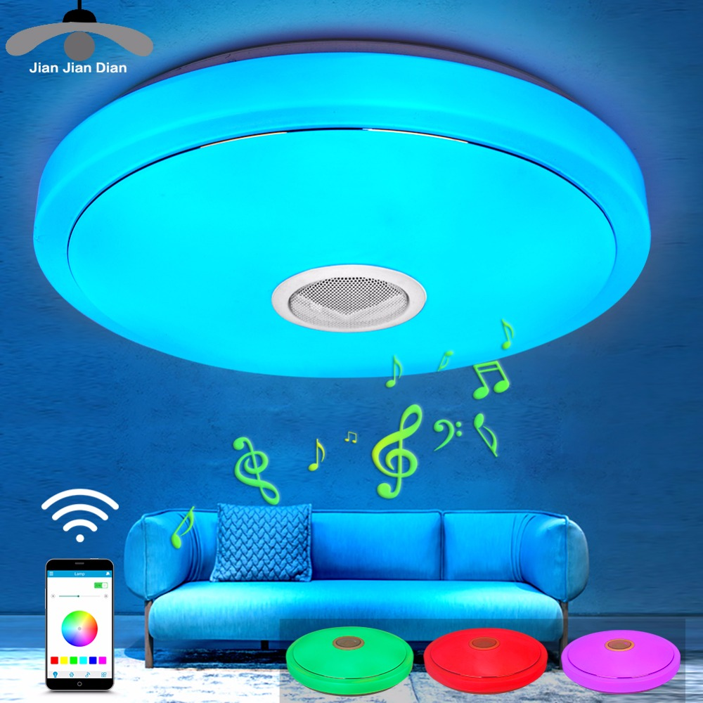 JJD Modern RGB Ceiling Light LED Lamp Panel Round Hall Surface Mount Flush Remote Control Living Room Bedroom Lighting Fixture