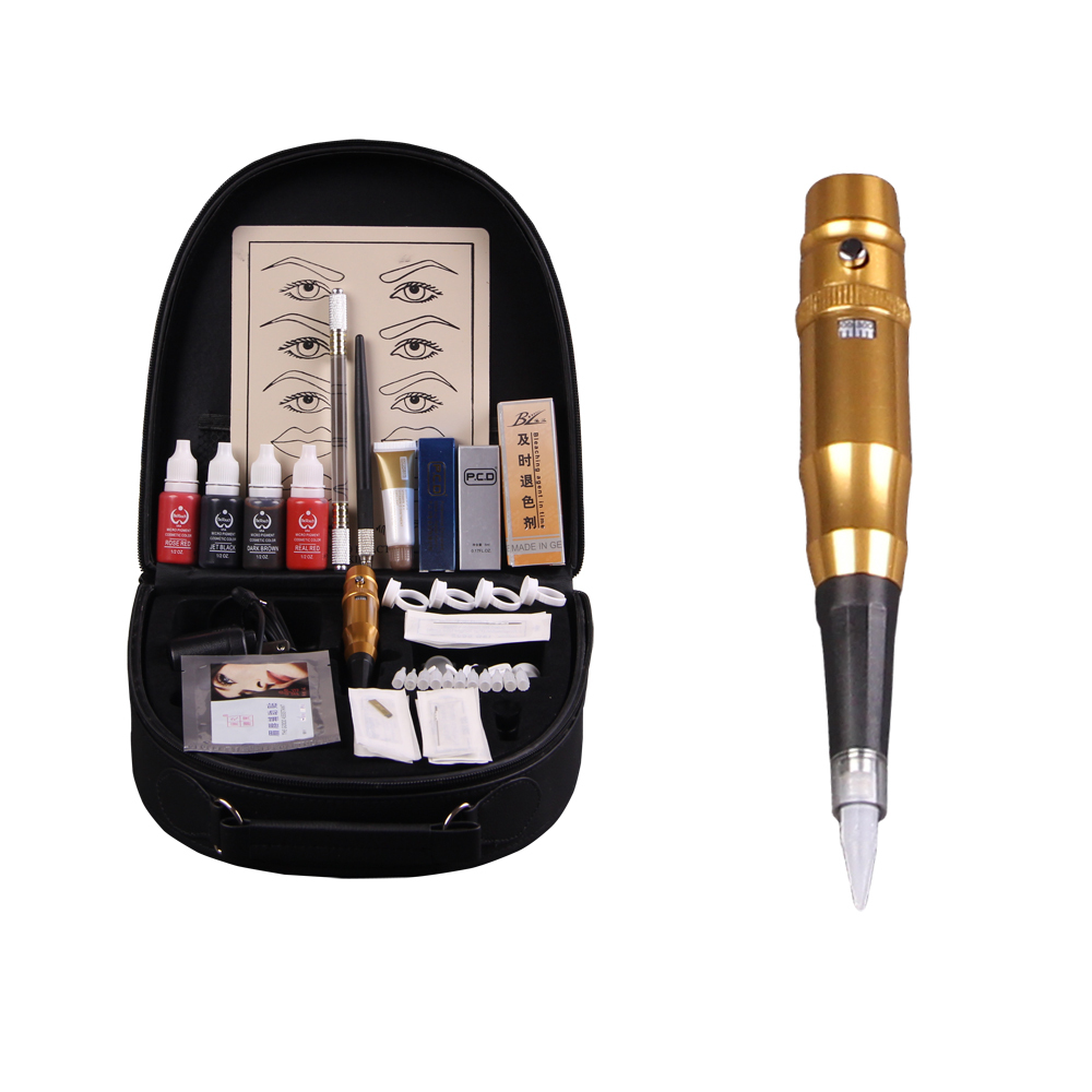 High-grade professional Permanent Makeup pen machine Kit 5color eyebrow tattoo set PCD lip repair protect senior trunk DSH-0072