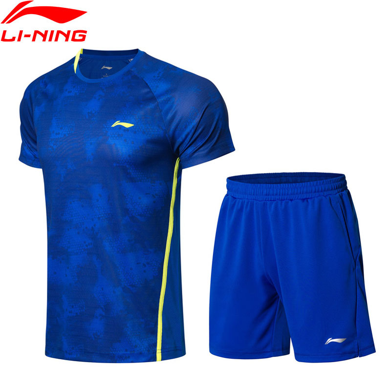 Li-Ning Men's Badminton Suits T-shirt+Shorts Set Competition Breathable AT DRY Comfort LiNing Sports Suit Sets AATN031 MSY180 2018 summer new badminton dress women speed dry badminton suit sports suit women s dress