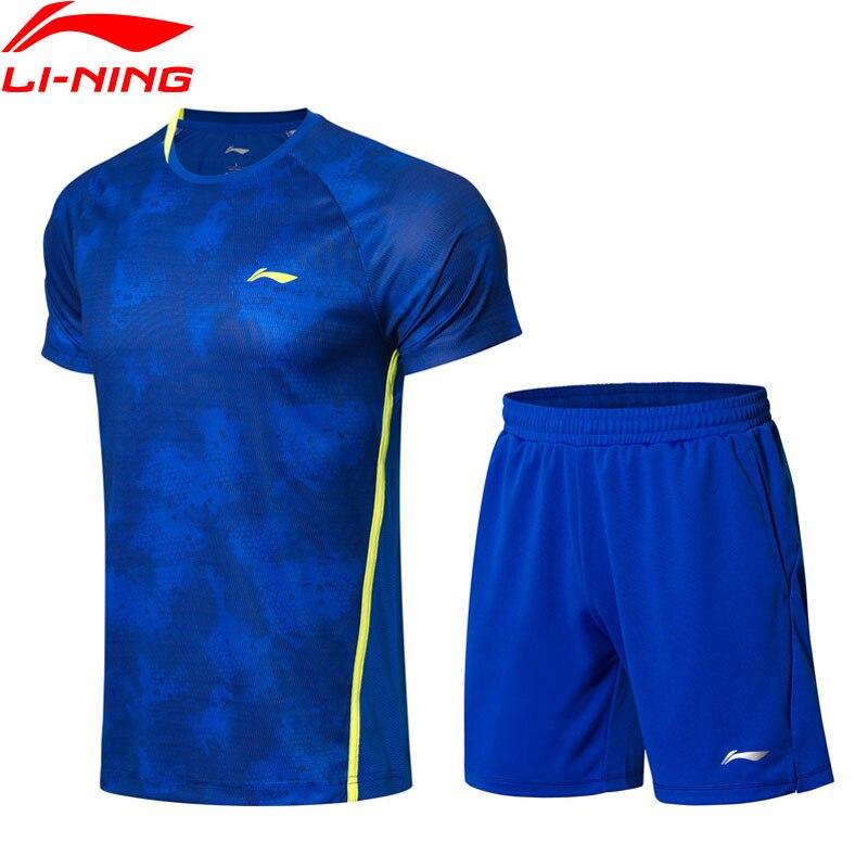 Li Ning męska Badminton garnitury t shirt + zestaw szortów konkurencji oddychające w suchym komfort podszewka strój sportowy zestawy AATN031 MSY180 w Zestawy treningowe i do ćwiczeń od Sport i rozrywka na AliExpress - 11.11_Double 11Singles' Day 1