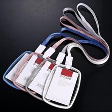 جديد 5 قطعة/الوحدة جودة عالية الاكريليك شفافة شارة حامل مع الحبل العمودي نمط قطرة المقاومة يمكن وضع اثنين IC بطاقة