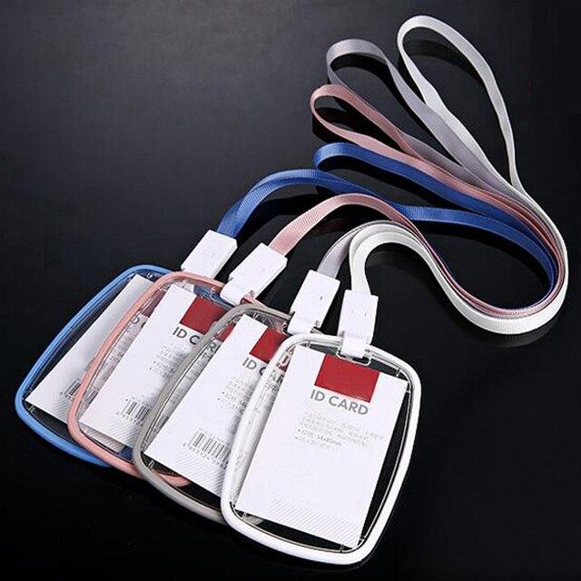 Nieuwe 5 stks/partij Hoge Kwaliteit Acryl Transparant Badge Houder Met Lanyard Verticale Stijl Drop Weerstand Kan Twee IC Card
