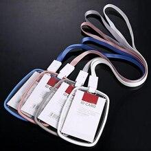 Nouveau 5 pièces/lot porte Badge Transparent en acrylique de haute qualité avec lanière résistance aux chutes de Style Vertical peut mettre deux cartes à puce
