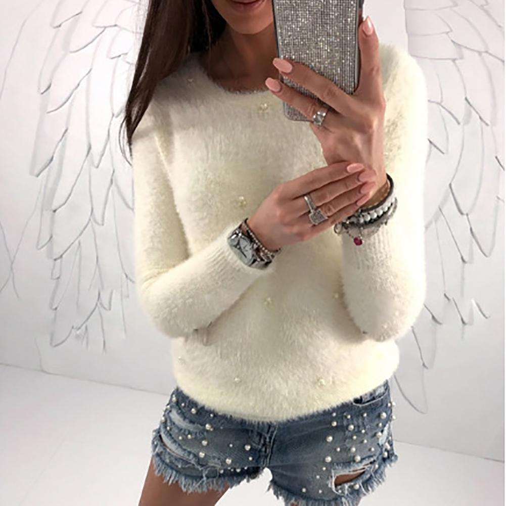 Fashion Women Long Sleeve O-Neck Faux Pearl Decorate Fuzzy Sweater Pullover Tops Autumn Winter Casual Bead Decor Pullover