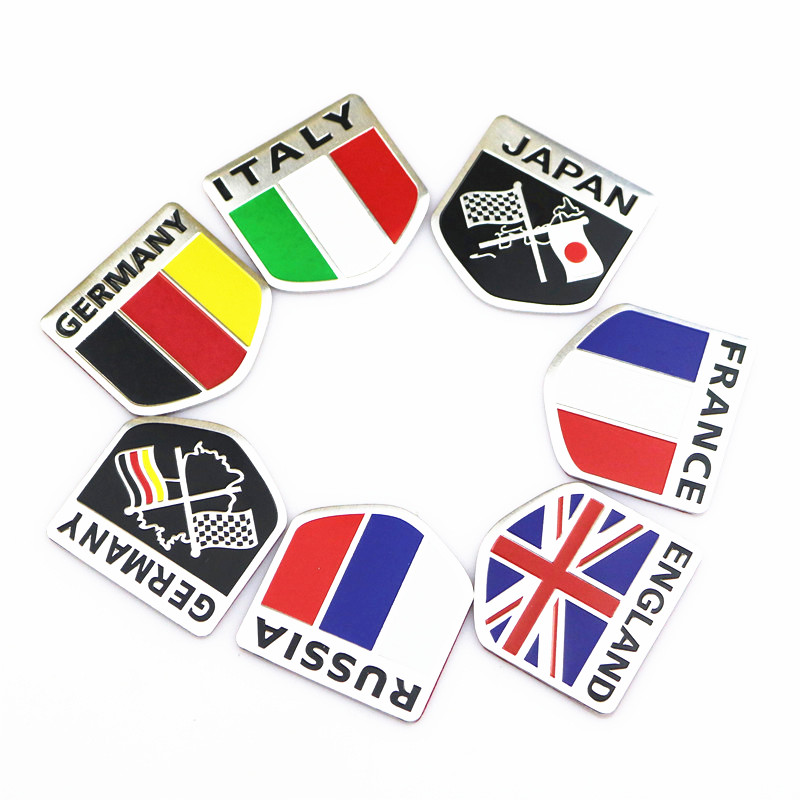 3D Aluminum car Flag sticker accessories For VW/mazda/ mitsubishi/audi/hyundai /opel /skoda/ford LADA Renault bmw car styling racing pattern car styling sticker sport design for motorcycle auto waterproof reflective decal for ford vw opel renault bmw kia