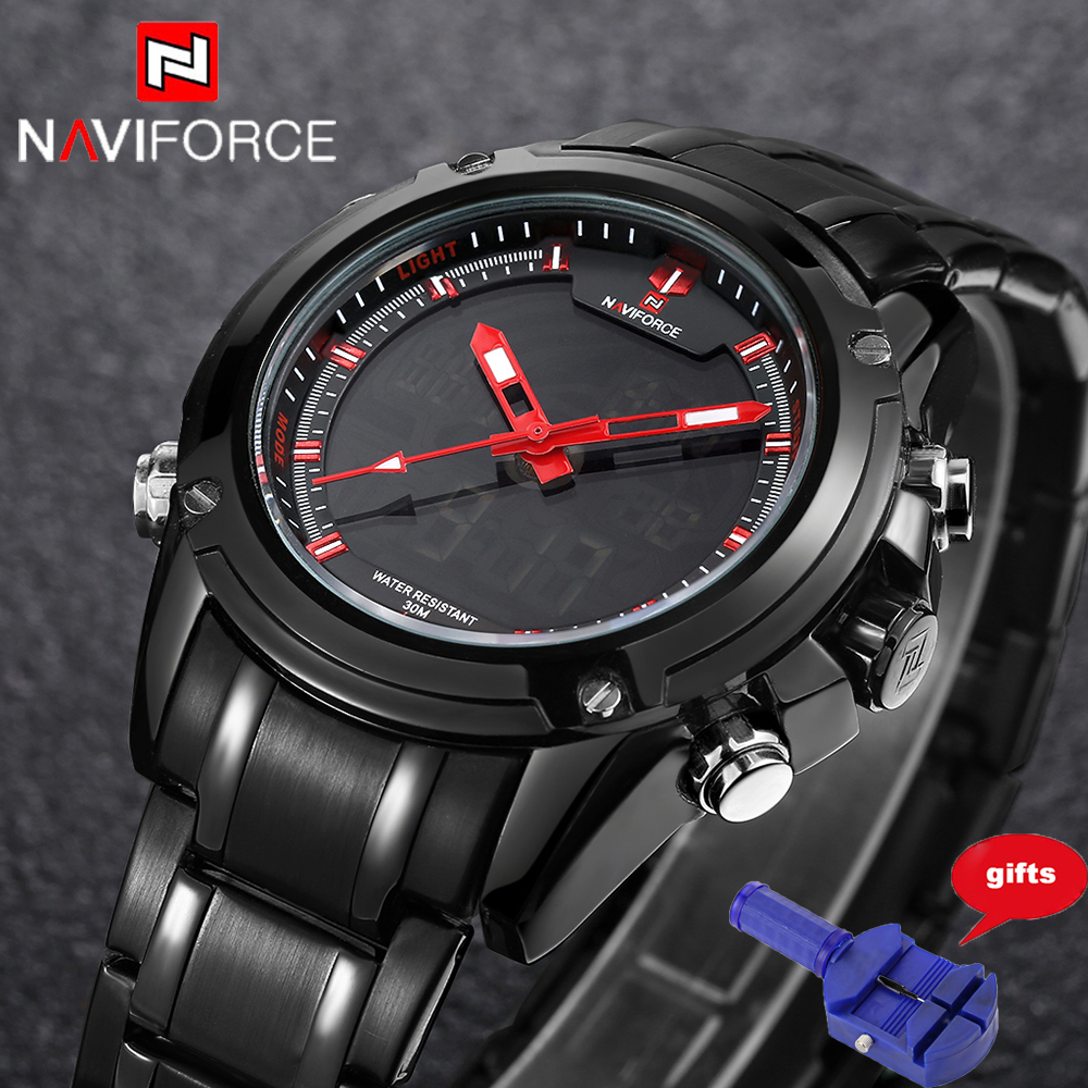 Watches Men NAVIFORCE Sport Watch Full Steel Digital LED Watch reloj hombre Army Military wristwatch relogio masculino 9050 weide popular brand new fashion digital led watch men waterproof sport watches man white dial stainless steel relogio masculino