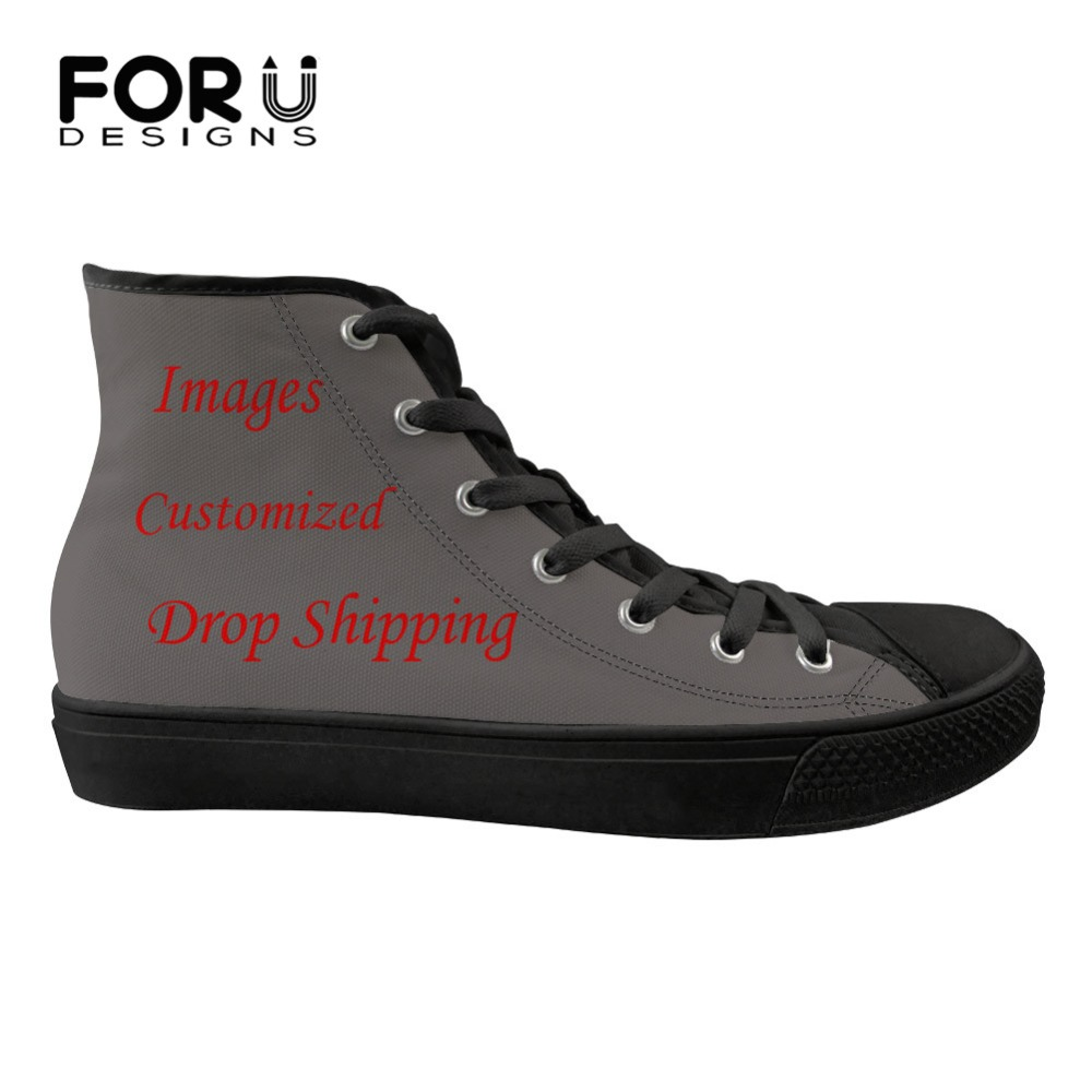FORUDESIGNS Customize Picture or Logo Women Sneakers Flats Cute Animal Bull Terrier Printing Fashion High Top