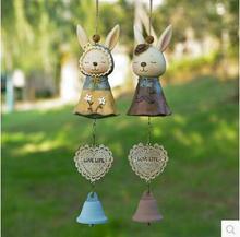 2pcs/pair Japan Romantic Couple Rabbit Aeolian Bell Action Figure Animal Toy Home Decoration Girls& Kids Birthday Gift
