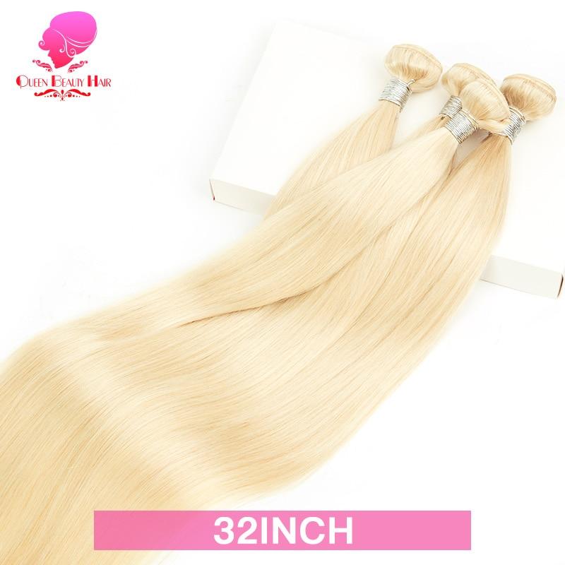 QUEEN BEAUTY-extensiones de cabello humano Remy, pelo lacio malayo, 3/4 rubio miel, 1/613 mechones, 8 - 40 pulgadas, envío gratis