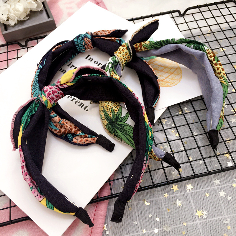 Girl's Hair Accessories Korea Fabric Bunny Hair Bands Rabbit Ears Hairband Flower Crown Headbands For Girls Hair Bows Hair Accessories D