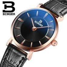 Switzerland BINGER Women's watches luxury brand quartz leather strap ultrathin Wristwatches Waterproof 1 year Guarantee B9013W-5