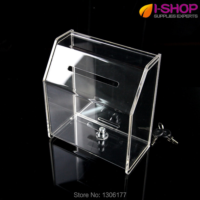 locking business card box w   lock comment box donation box