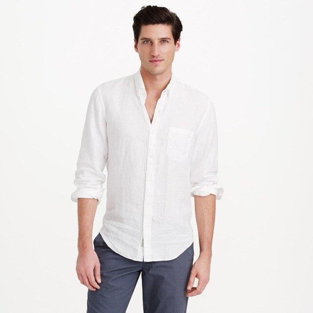 5205675c5f Camisas de lino blanco para hombres camisas de lino hechas a medida ...