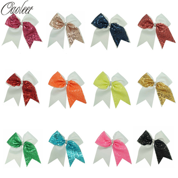 12 Pcs/Lot 7 Inch Solid Sequin Cheer Bows With Alligator Clip for Girls Solid Ribbon Hair Bow Handmade Kids Hair Accessories 1 set 2pcs 4 5 girls 2 color linen plaid hairgrips hairbow hair accessories with alligator clip handmade for children hair bow