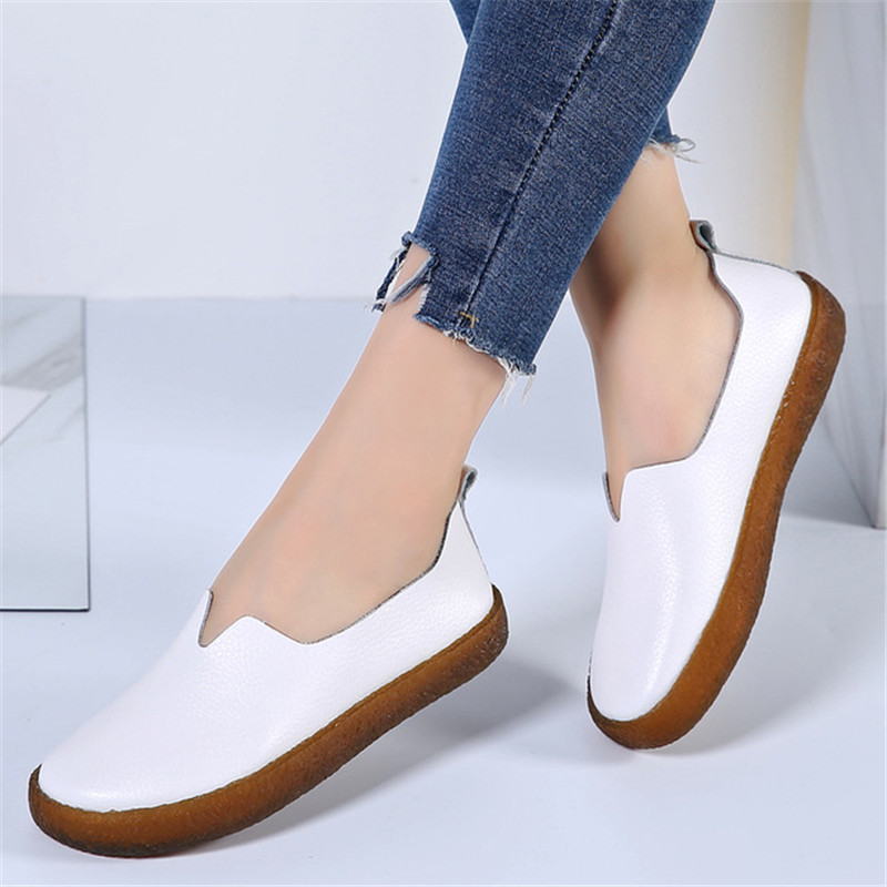 ZOQI Genuine Leather Shoes Women Flat Shoes White Casual Oxford Shoes For Women Slip On Plus Size Women Flat Zapatos De Mujer top quality women flats 100% cowhide leather bullock vintage slip on flat tassel oxford shoes for women loafers zapatos mujer