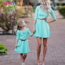 Платье для мамы и дочки; Одинаковые комплекты семьи; Модные
