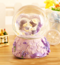 Couple doll lavender crystal ball music box