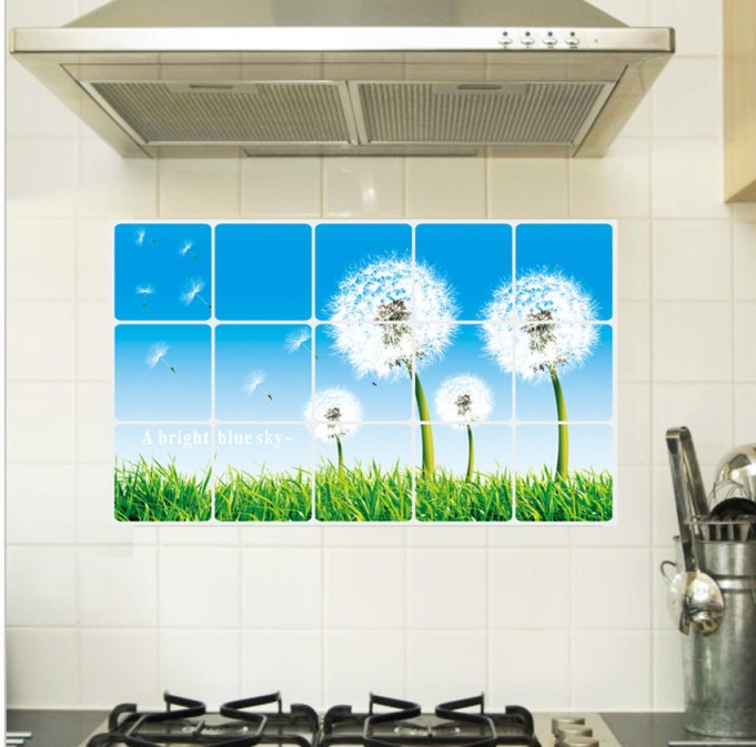 Eco Removable Dandelions Design Kitchen Waterproof And Oil Proof Decorative  Stickers Home Decor Kitchen Tiles Wall