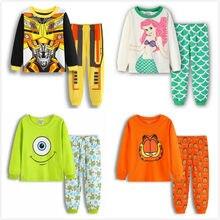 Низкая цена Детские пижамные комплекты с героями мультфильмов детская  хлопковая Повседневное Семья пижамы Детская ночная рубашка d86efb9b1c844
