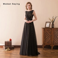 Fashion Gothic Black Lace Evening Dresses 2018 with Beading Witch Style Evening Gowns A Line Party Prom Gowns vestido de festa