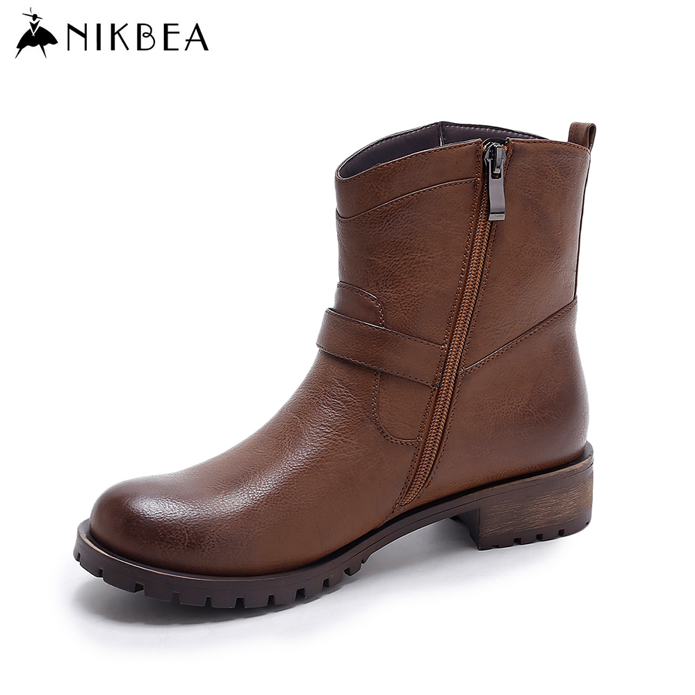 Nikbea Ankle Boots for Women Flat Boots Platform 2016 Autumn Shoes Winter Booties Vintage Ladies Pu Leather Boots Botas Mujer nikbea vintage western boots cowboy ankle boots for women pointed toe boots winter 2016 autumn shoes pu chunky low heel booties