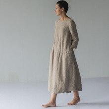 Дизайн осеннее льняное цветное длинное платье 17394-11