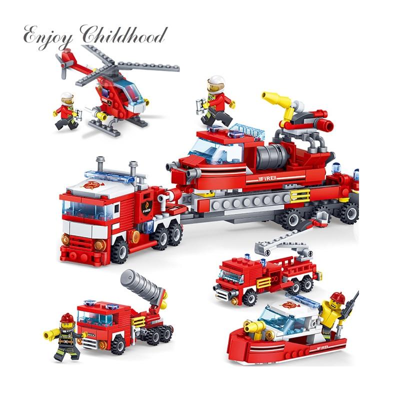 Toys 348PCS DIY Fire Station Building Blocks Bricks Toys For Children Compatible Legoing City Construction Firefighter Firemen