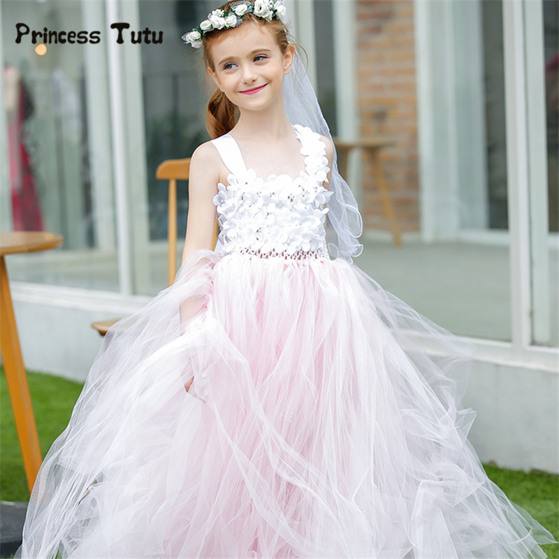 Retail Flower Girl Dresses For Weddings Ball Gown Pink Kids Birthday Festival Pageant Party Tutu Dress Tulle Princess Costume 2017 new arrival 4t 8t girl party dress organza cotton lining kids pageant ball gown turquoise flower girl dresses for weddings