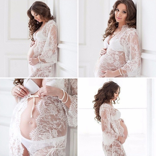 a9f0e0b33209d Lace Open Front Maternity Dress See Through Studio Clothes Photography  Props Pregnancy Dress Gift New