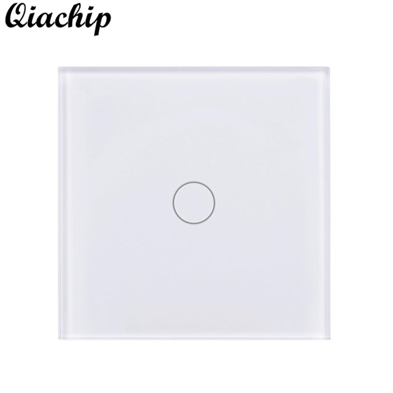 QIACHIP 1 Gang 1 Way Light Wall Switch APP Remote Control Control Work With Amazon Alexa Google Home Touch Tempered Glass Panels k1rf ltech one way touch switch panel ac200 240v input can work with vk remote