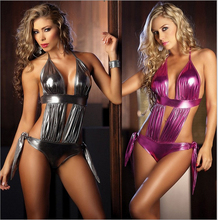 Foreign trade in Europe and America Plus size sexy lingerie bikini patent leather skirt Sexy lingerie erotic enticement Babydol