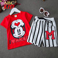 Short Sleeve Shirt + Stripes Shorts 2Pcs Set Kids Tracksuit Sport Suits Children Clothes Mickey Shirts Vetement Enfant KD272