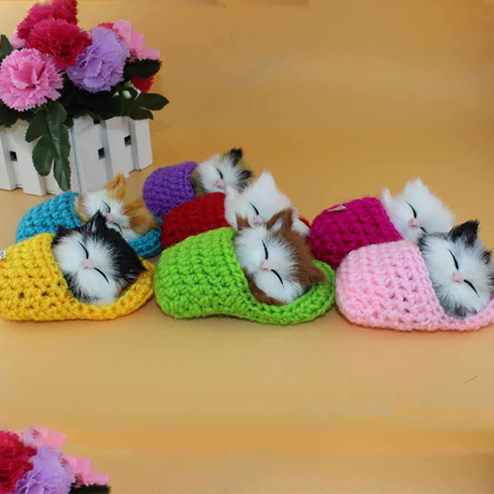 1PC Exquisite Cute Dollhouse 1:12 In Stock Simulation Cat Vocalize Meow Meow Slippers Kitten Plush Toys Doll Kids Miniature C624