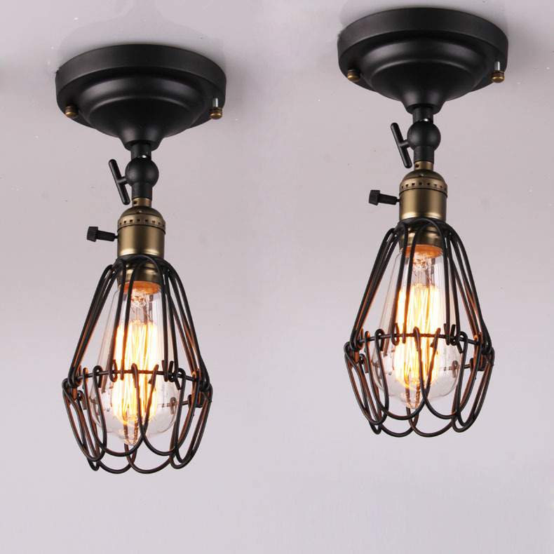 Industrial Metal Cage rotatable Head Balcony Ceiling Lamps American Vintage Country Corridor Ceiling Light Hallway Ceiling Lamp vintage ceiling lamps american style copper lamps ceiling light personality simple country balcony lamp home lighting corridor