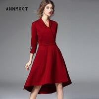 Annroot темно синий красный женские платья высокого качества новый бренд Весна и осень женская мода нерегулярные шить Slim платье 54026