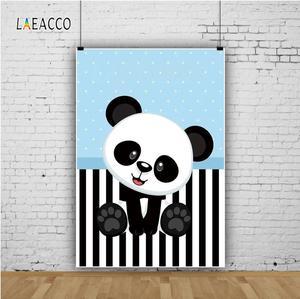 Image 3 - Laeacco الباندا قماش مخطط أبيض وأسود أزرق نقاط عيد ميلاد التصوير الخلفيات مخصصة التصوير الخلفيات لاستوديو الصور