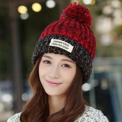 #1804 2016 Girl hat Tassel Knitting beanies for women Fashion Toca feminina Gorras mujer Winter Fur hat Sombreros mujer