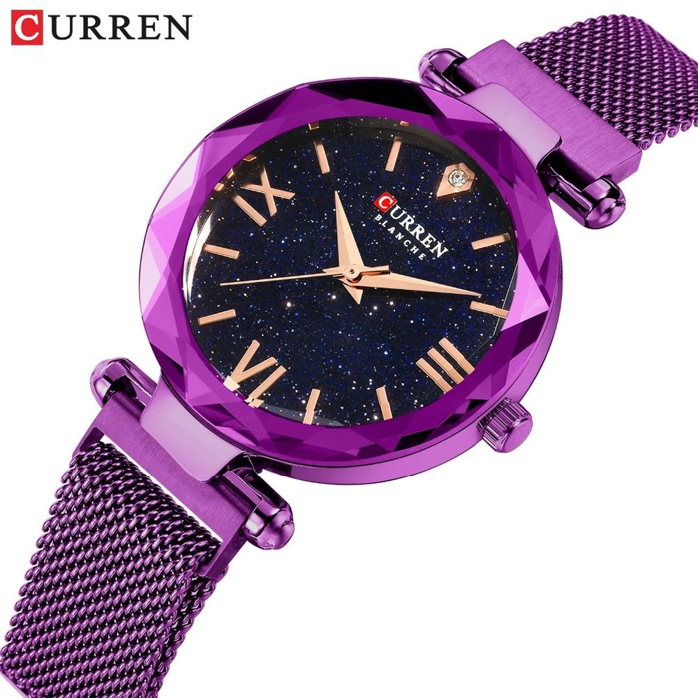 Luxury Diamond Ladies Watches CURREN Fashion Creative Women Wristwatch Romantic Starry Sky Quartz Watch Valentine Gift PurpleWomens Watches   -