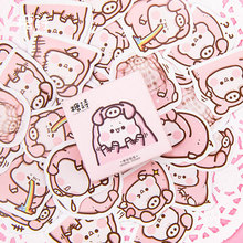 45Pcs/box Pink cute pig Paper Decoration DIY Scrapbook Notebook Album seal Sticker Stationery Kawaii Girl Label Stickers